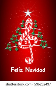 Christmas tree made of green musical notes, candy bar shaped treble clef and pentagram with title: FELIZ NAVIDAD -MERRY CHRISTMAS in spanish language- on red background with stars  - Vector image