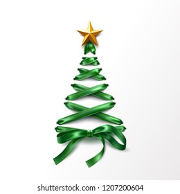 Christmas tree made of lace-up green ribbon with golden star. Tree made of elegant lacing, trendy invitation, greeting card poster on isolated background. Vector xmas shoelace for poster design