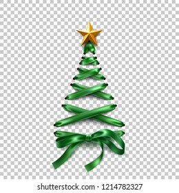 Christmas tree made of lace-up green ribbon with golden star. Tree made of elegant lacing, trendy invitation, greeting card poster on transparent background. Vector xmas shoelace for poster design