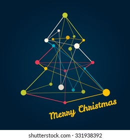 Christmas tree made from lines. Vector illustration.