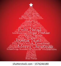 "Christmas tree made from ""Merry Christmas"" in different languages in vector format. Translation - Merry Christmas"