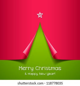 Christmas tree made of paper. Vector background for design