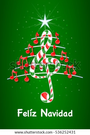 1cacbe3146d33 Christmas Tree Made Red Musical Notes Stock Vector (Royalty Free ...
