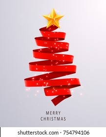 Christmas tree made of red ribbon on bright background. New year and christmas greeting card or party invitation. Vector illustration.