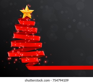 Christmas tree made of red ribbon on dark background. New year and christmas greeting card or party invitation. Vector illustration.