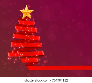 Christmas tree made of red ribbon on red background. New year and christmas greeting card or party invitation. Vector illustration.
