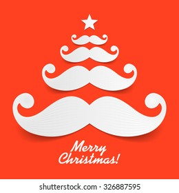 Christmas tree made of Santa's mustache . Vector.