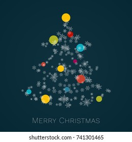 Christmas tree made of snowflakes with colorful baubles. Merry Christmas card.