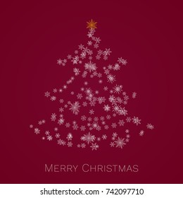 Christmas tree made of snowflakes. Merry Christmas card.