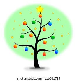 Christmas tree made with stars and balls