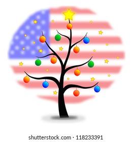 Christmas tree made with stars and balls and flag of USA background