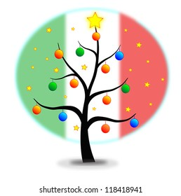 Christmas tree made with stars and balls and flag of Italy background