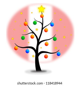 Christmas tree made with stars and balls and flag of Peru background