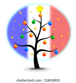 Christmas tree made with stars and balls and flag of France background