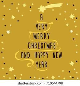 Christmas tree made from text with golden ribbon and yellow star above. Vector illustration on golden background. with little stars around A Very Merry Christmas and Happy New Year