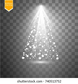 Christmas Tree made, White glitter bokeh lights and sparkles. Shining star, sun particles and sparks with lens flare effect on transparent background