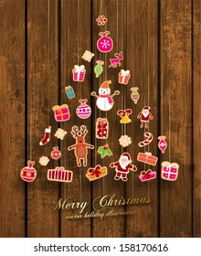 Christmas Tree made of Xmas icons, Wooden Background, Vector