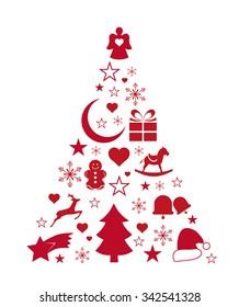 Christmas Tree Made of Xmas icons