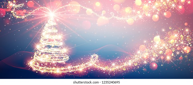 Christmas Tree Magic in Bright Colors, New Year Background. Vector illustration