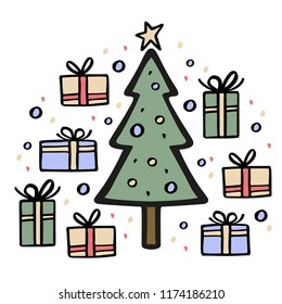 Christmas tree with many gifts around. Hand drawn vector illustration. Christmas elements set