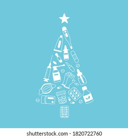 Christmas tree of meds, drugs, pills, bottles and health care medical elements. Medicine christmas. Vector illustration on blue background