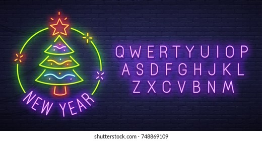 Christmas tree neon sign, bright signboard, light banner. New Year logo, emblem and label. Neon sign creator. Neon text edit
