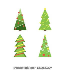 Christmas tree New Year logoset, pine tree icon, outline pictogram for Christmas invitation, party design, celebration poster, banner. Fir geometric icon with snow for holiday decoration. Flat style