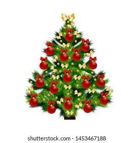 Christmas tree New year on white background