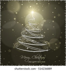 Christmas tree on abstract vector background with star, glare and glitter.