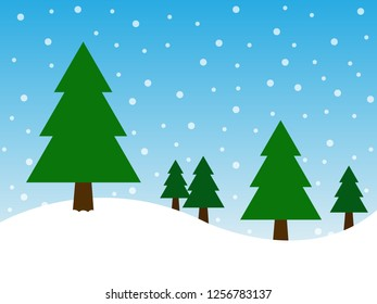 Christmas tree on snow and blue background in merry christmas festival. Illustration EPS10