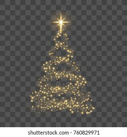 Christmas tree on transparent background. Gold Christmas tree as symbol of Happy New Year, Merry Christmas holiday celebration. Golden light decoration. Bright shiny design Vector illustration