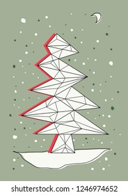 Christmas tree on a Winter snowy background. Abstract vector postcard, wallpaper.