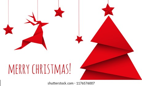 christmas tree origami isolated vector
