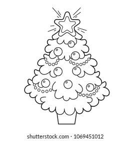 Christmas tree with ornaments and gifts. Christmas. New year. Coloring book for kids. Coloring Page