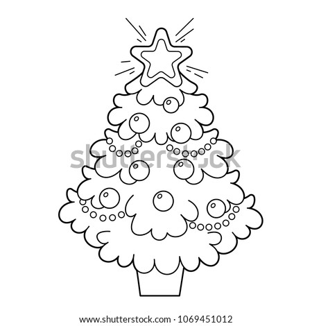 Christmas tree with ornaments and gifts. Christmas. New year. Coloring book  for kids - Christmas Tree Ornaments Gifts Christmas New Stock Vector (Royalty