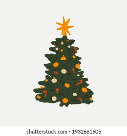 Christmas tree with ornaments and stars on top. Xmas tree vector illustration for web design, holiday card, poster, sticker, poster, packaging design