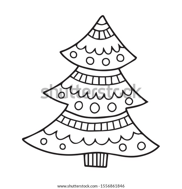 Christmas Tree Outline Drawing Perfect Colouring Stock Vector (Royalty  Free) 1556861846