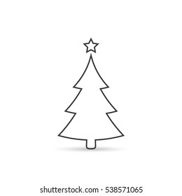Christmas tree outline icon, vector simple line sign.