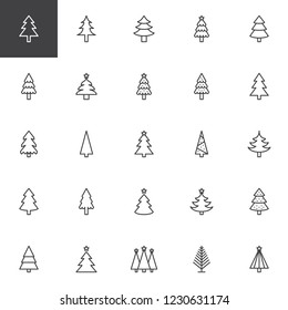 Christmas tree outline icons set. linear style symbols collection, line signs pack. vector graphics. Set includes icons as Xmas tree decoration with star, Coniferous forest, Spruce winter tree, Fir