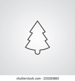 Christmas tree outline thin symbol, dark on white background, logo editable, creative template