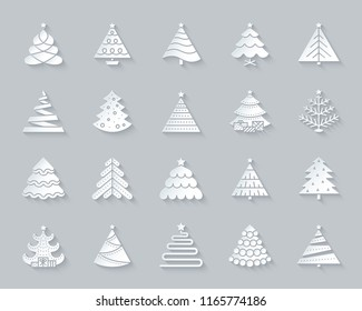 Christmas Tree paper cut art icons set. 3D web sign kit of stylized spruce. Fir Farm pictogram collection ball, fir, spruce Simple christmas tree vector paper carved icon shape. Material design symbol
