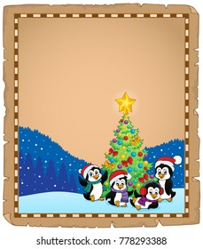 Christmas tree and penguins parchment 2 - eps10 vector illustration.