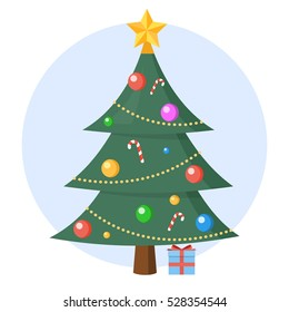 Christmas tree with present vector flat design isolated on circle background