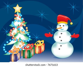 christmas tree presents and a snowman