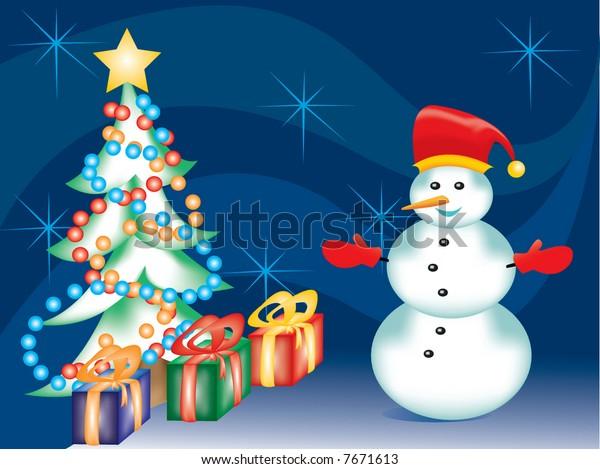 Christmas Tree Presents Snowman Stock Vector Royalty Free