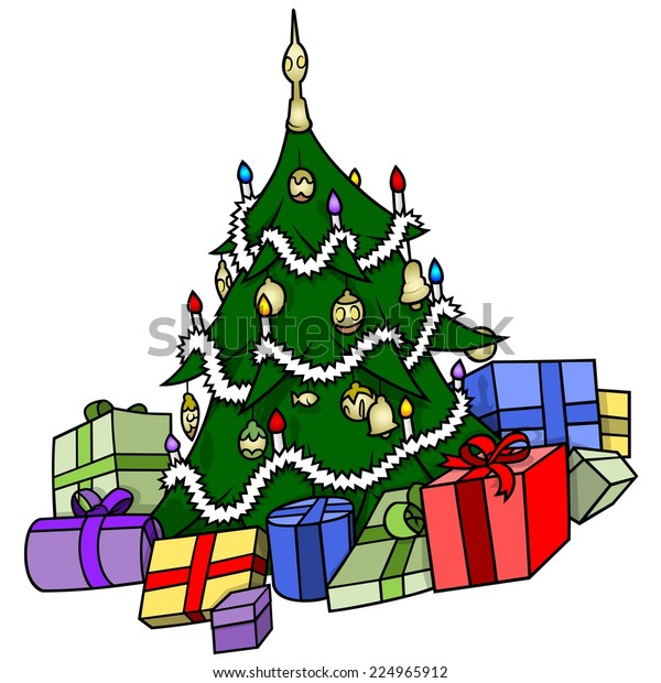 Christmas Tree Presents Xmas Cartoon Illustration Stock Vector Royalty Free 224965912 Print these ornaments on card stock. https www shutterstock com image vector christmas tree presents xmas cartoon illustration 224965912