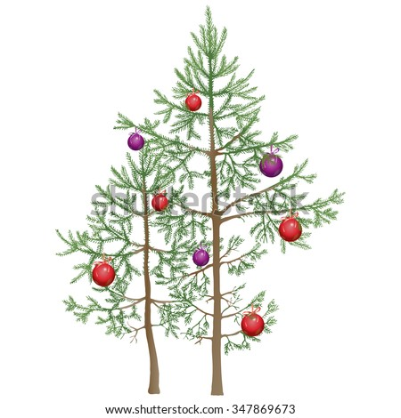 christmas tree realistic small young fir trees decorated with red and purple balls vector - Small Purple Christmas Tree