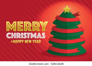 Christmas tree with red ribbon