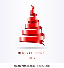 Christmas tree from red ribbon. Inscription Merry Christmas 2017.