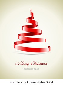 Christmas tree from red ribbon vector background. Eps 10.